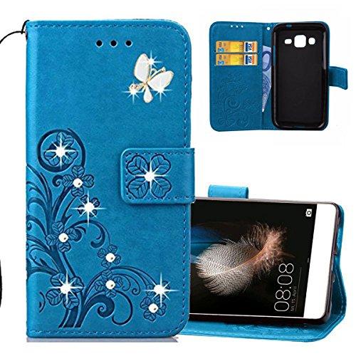 EMAXELERS Samsung Galaxy J1 2016 Hülle Glitzer Bling Cristal Schmetterling Clover PU Leder Wallet Case Standfunktion Karteneinschub Etui Handyhülle für J120,Diamond Blue Clover with Butterfly