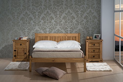 Birlea Rio Bed - Wood, Waxed Pine, Double