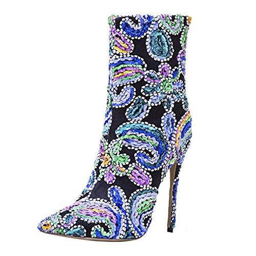 ENMAYER Frauen Sexy High Heels Pumps Stilett Spitz Zeh Reißverschluss Western Style Party Kleid Schuhe EU 38
