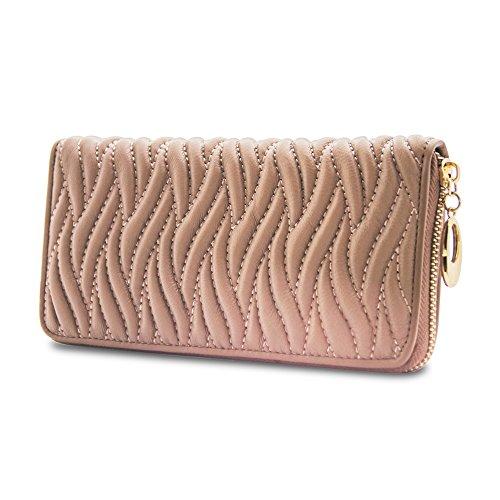 WalletAddict Paris - Elegante Damen-Geldbörse aus Echt-Leder | Designer-Portemonnaie m. Rundum-Reißverschluss | Lange Brieftasche für Alltag u. Ausgehen (Champagne) -