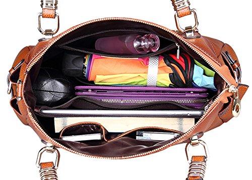 SAIERLONG Femmes Style Européen Et Américain Rose Rouge Première Couche De Cuir Sacs portés main Épaule Messenger Bag Cross Body Sac à main vintage Rouge-brun