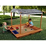 KidKraft Outdoor Sandbox w/Canopy, Wood, Natural, 163x153x130 cm