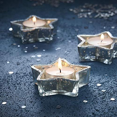 Silver Christmas Lights (Silver Star Glass Tea Light Holder - Silver Christmas)