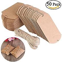 NUOLUX Cajas Vintage Kraft marrón a rústico Shabby envolver cajas de dulces de regalo con cuerda