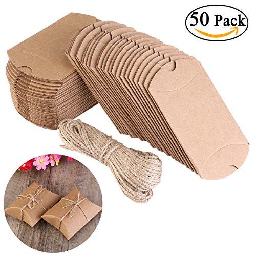Nuolux cuscino di scatole portaconfetti 50pz in carta kraft con corda di canapa bomboniere