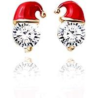 Premium Quality Christmas Earrings for Girls,Fashionable Santa Christmas Hat Rhinestone Design Studs Cool Jewellery Gift for Women