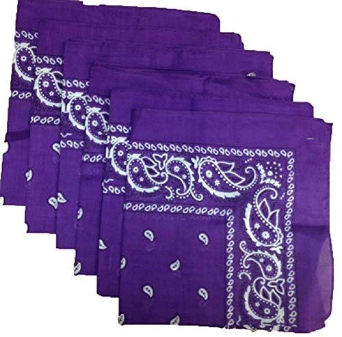 Zeagro 6 Pack Bandana Bufanda, envolturas para la Cabeza, pañuelos de algodón, Multiusos Bandas de Vaquero para Hombres y Mujeres