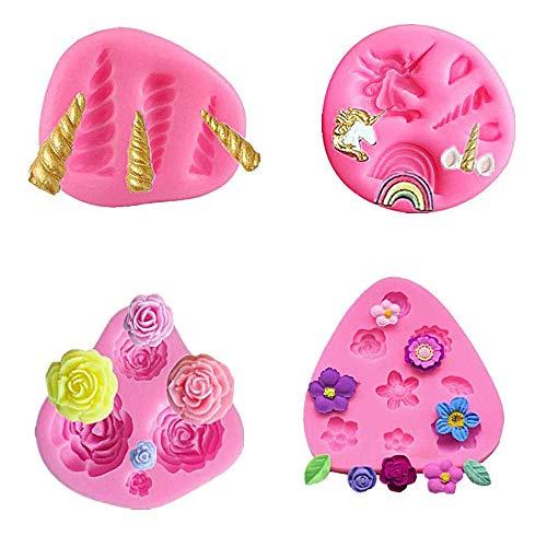 NanaN Mini-Einhornform, Einhorn Ohren Horn Rainbow Blumen und Blatt, Silikon Kuchen Fondantform Set, Cupcake Toppers Fondant Schokoladenform für Einhorn Theme Party und Kindergeburtstag (4er Set)