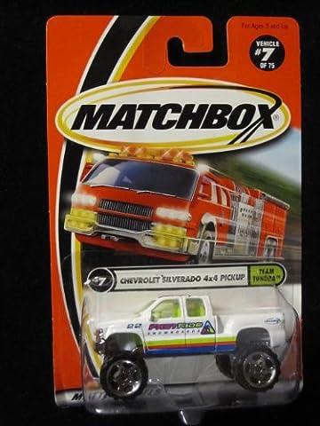 Chevrolet Silverado 4x4 Pickup (White/snowboards Tampo) Matchbox Team Tundra Series #7 by Matchbox