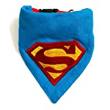 #7: Man of Steel Dog Embroidered Bandana/Scarf with Adjustable Dog Collar (XL)