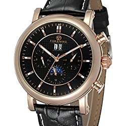 Forsining Men's Business Automatic Calendar Moon Phase Dail Brand Leather Strap Wrist Watch FSG553M3R2