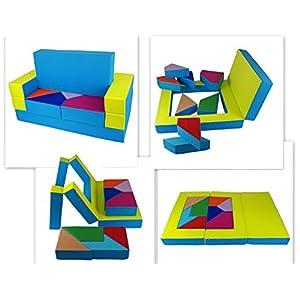 scalesport Spielsofa KG05B 4in1 Kindersofa Spielmatraze für Das Kinderzimmer Spielpolster Softsofa Blau/Grün Puzzle…
