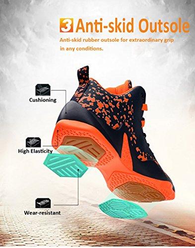 GOMNEAR Hommes Basketball Chaussures Hi-Top Baskets Mixte Noir Rouge Blanc Orange Sneaker en Plein Air Orange bleu foncé