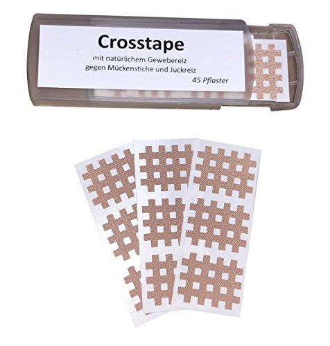 Tapes4you Schluss mit juckenden Mückenstichen - 45 Crosstape Pflaster mit natürlichem Gewebereiz gegen Juckreiz 21mm x 26mm Mückenpflaster (Jucken Mückenstiche)