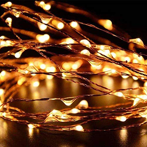 LEEDY 6/12/24 pcs LED Starry String Lights with 20 Fairy Micro LEDs on 3.3feet/1m Silver Copper Wire, Battery Powered Fairy Lights by 2X CR2032, for Party Wedding Christmas Decorations Warm