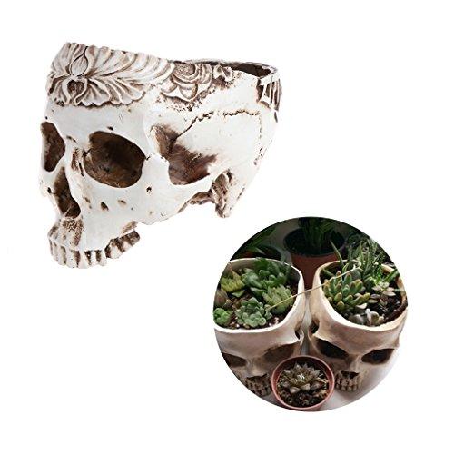 Cuigu Blumentopf/Pflanzgefäß mit Totenschädel, Design Tricky, Geschenk, Büro zu Hause, Dekoration Halloween, Party, Dekoration, 01#, 5.51