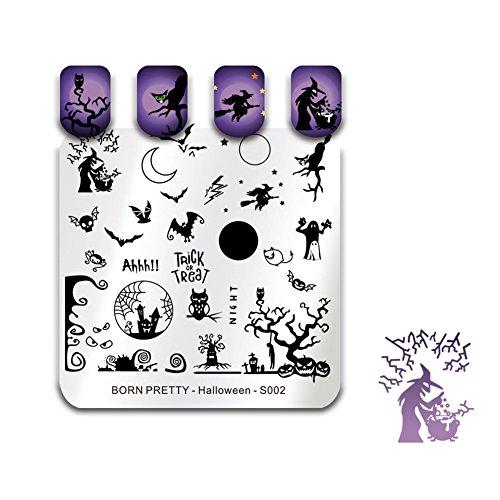 BORN PRETTY Nail Art Stempel Vorlagen Halloween Stempelbild Quadrat Stempel Platte Katze Hexe Bat S002
