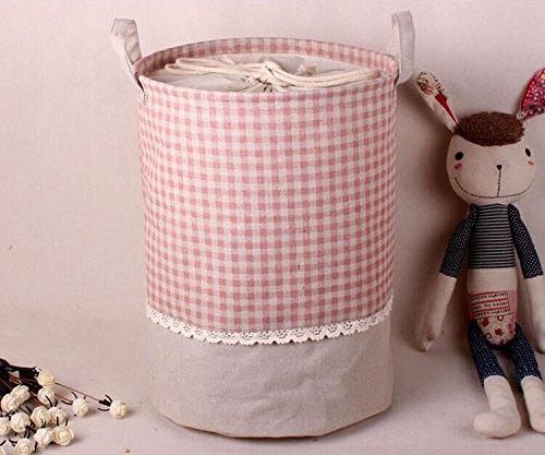 aufbewahrung, Soriace premium foldable cotton line Wäschekorb Klapp Kinder Spielzeug organizer Spielzeug aufbewahrung Spielzeug Warenkorb Kleidung Halter wäschebox mit Deckel gepunktet, rosa kariertes