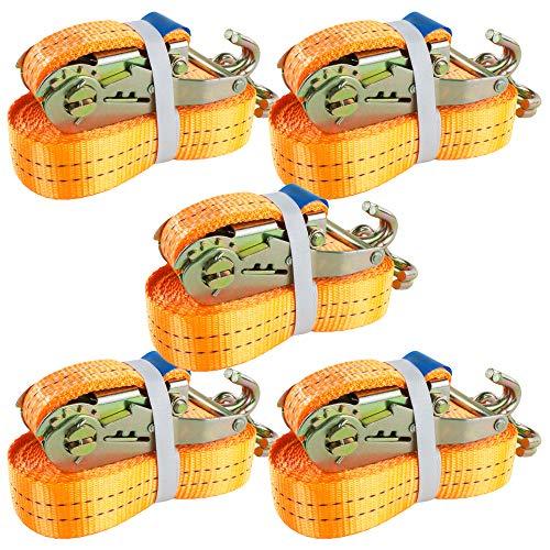 5 Stück Spanngurt 2t 6m 2000 daN kg Zurrgurte Ratsche Ratschengurt Ratschenspanngurt Ladung SPARSET Spanngurte DIN EN 12195-2