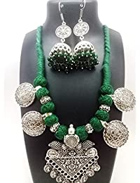 Shreevari Exclusive Oxidized Traditional Designer Necklace Set For Women/Jewellery Set With Earrings For Girls...