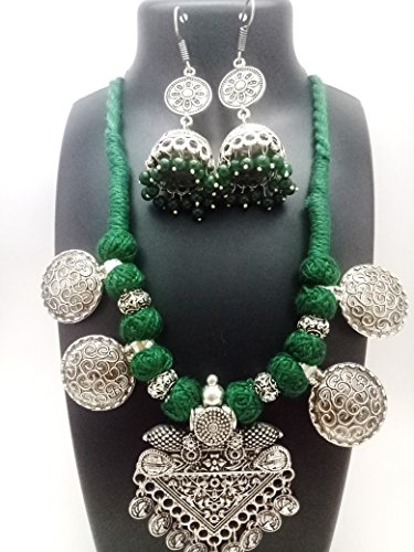 Shreevari Exclusive Oxidized Traditional Designer Necklace Set for women/Jewellery Set with Earrings for Girls and Women