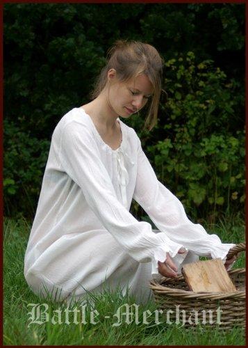Kleider Mittelalterliche Sexy (Unterkleid - Mittelalterkleid - Nachtgewand, natur aus Baumwolle - Wikingerkleid - Mittelalter Larp Wikinger)