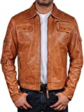 Klassiker Herren Bikerjacke aus Leder Hallbraun Echtes Leder Motor Motorradjacke Slim Fit Coat Outwear XSmall-5XL (X-Large)
