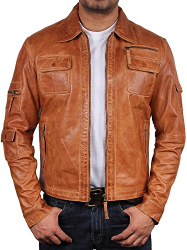 Klassiker Herren Bikerjacke aus Leder Hallbraun Echtes Leder Motor Motorradjacke Slim Fit Coat Outwear XSmall-5XL (XXX-Large)