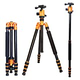 koolehaoda Professional DSLR Camera Tripod Monopod with Fluid Head Ball Head ,Travel Bag Compact Lightweight For Digital Camera and DSLR Canon Sony, Nikon etc.
