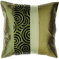 Avarada Fodera per cuscino, a righe, spirali di design, 45x 45cm verde