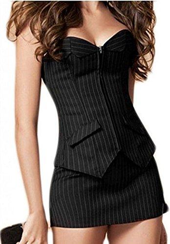 Damen Vollbrust Corsagenkleid Korsett Corsage Kleid Mini