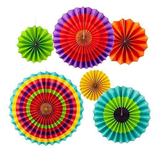 MINGZE 6pcs colores vibrantes vibrantes que cuelgan los ventiladores de papel, Ventilador...