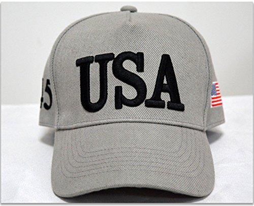 IVYRISE Fashion Hut 3D Stickerei USA Cap Nummer 45 Amerika Flagge Trump Make America Great Again Verstellbare Baumwolle Hut, grau