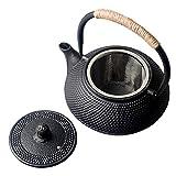 HwaGui-Japanische Teekanne Gusseisen mit Siebeinsatz Schwarz Teekanne Asiatisch 0,6l / 600ml