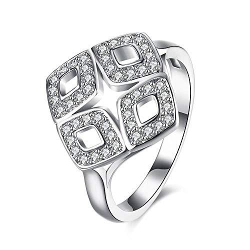 nouler Frauen Sterling Silber Zirkonia Diamant Dünne Ringe,Größe,9 - Diamant-ring-größe 9