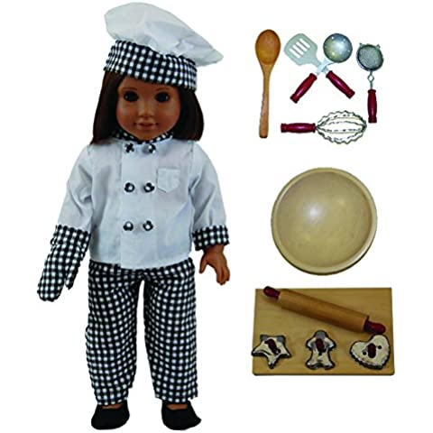 Doll Clothes Outfit and 11 Pc Kitchen Tool & Baking Set Accessories Fits 18 inch American Girl! Complete Clothing Set & Shoes, Bowl, 5 piece Utensil Set, 3 Cookies Cutters, Wooden Board & Rolling Pin by The Queen's