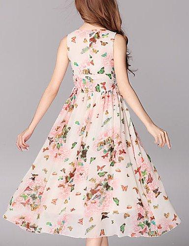 LYQ/ Robe Aux femmes Grandes Tailles Vintage , Imprimé Col Arrondi Maxi Mousseline de soie pink-l
