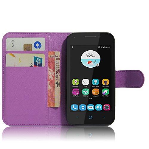SMTR ZTE blade L110 Wallet Tasche Hülle - Ledertasche im Bookstyle in Lila - [Ultra Slim][Card Slot][Handyhülle] Flip Wallet Case Etui für ZTE blade L110