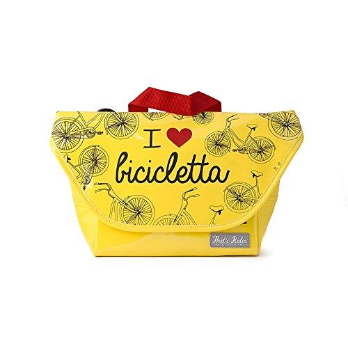 "Sac de guidon de vélo en jaune, original That's Italia ""I love bicicletta"" collection"