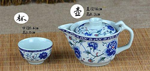 7 Stück Jingdezhen Blau Und Weiß Porzellan Kung Fu Tee Set, Blaue Pfingstrose Muster, Vintage Chinesische Keramik Tee Set, Für Geschenk Und Haushalt, Büro