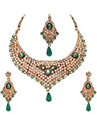 Jewels Gold Antique Simple Designer Gold Plated Wedding Necklace With Earrings Set & Maangtika For Women & Girls