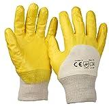 SBS® Nitrilhandschuhe | 12 Paar | Gelb | Gr. 8 M | mit Strickbund Nitril-Handschuhe | Arbeitshandschuhe