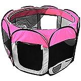 Welpenlaufstall mit Farbwahl für Tiere Tierlaufstall faltbar Laufstall Hunde Katzen Welpenauslauf (Pink)