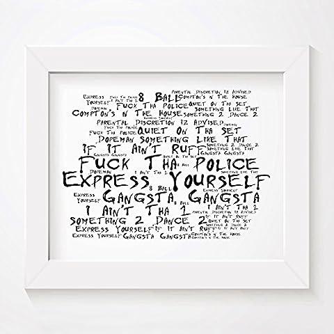 `Noir Paranoiac` Kunstdruck Poster - NWA - Straight Outta Compton - Unterzeichnet und Nummerierten Limitierte Auflage Typografie Ungerahmt 25 x 20 cm (10 x 8 inch) Wand Kunst Druck Text Lyrisch Grafik Plakat - Song Lyrics Art Print