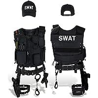 SWAT Costume + Pistolet tactique Gilet tactique, étui de jambe, menottes et casquette, noir