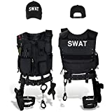 SWAT FBI POLICE SECURITY Kostüm inkl. Einsatzweste, Pistolenholster, Handschellen und Baseball Cap - M/L - SWAT