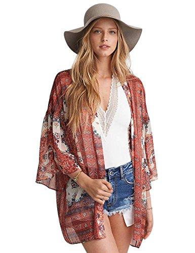 Abollria Damen Kimono Cardigan Chiffon Sommerkleid Floral Print Knielang Beach Cover up Leicht Tuch für die Sommermonate am Strand oder See Orange