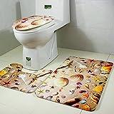 Tappetino WC Set di 3, Moon mood® Tappetino da bagno + Coperchio WC Cover + Piedistallo Tappeto Accessori per il Bagno Mat Copriwater e copri Serbatoio per WC retrò Stile