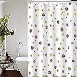 BeiMi Duschvorhang Dicke wasserdichte Mehltau Schimmel milde Polyestergewebe waschbar niedrige Temperatur Bügeln Bad Trennwand Vorhang (kleine Blumen) (Size : 180x200cm)