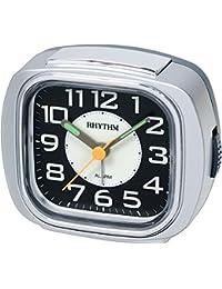 Rhythm Super Silent Alarm Clock Silver 9.8x8.3x4.0 Cm